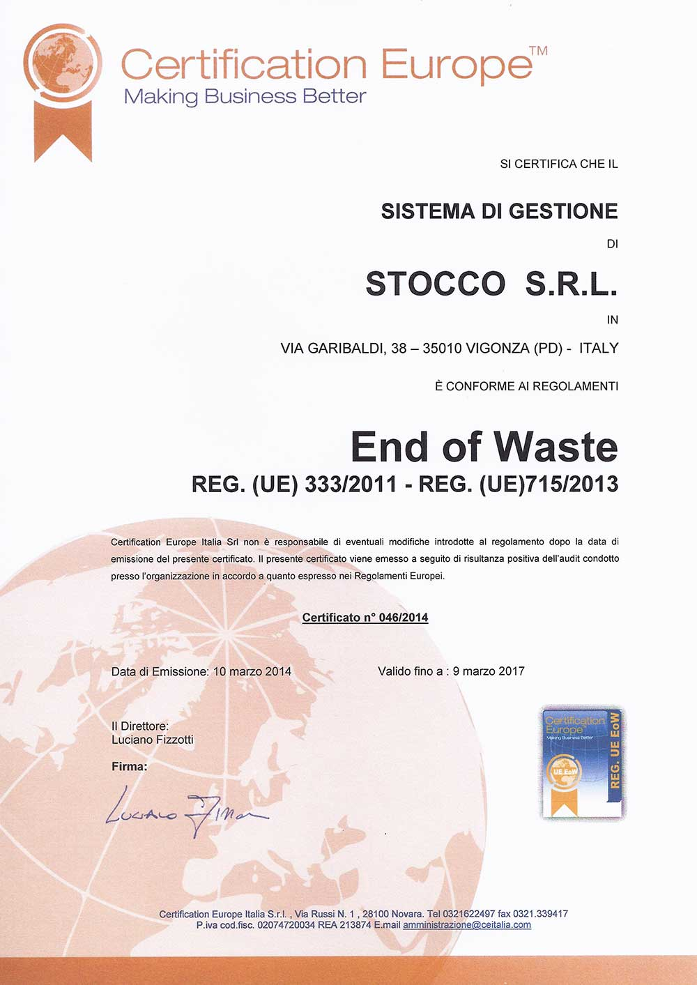 CERTIFICATO END OF WASTE