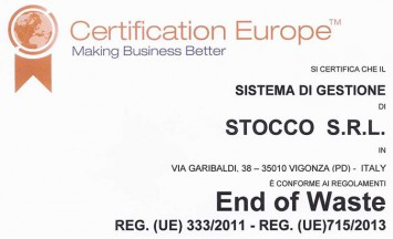 Stocco Srl Certificato End of Waste